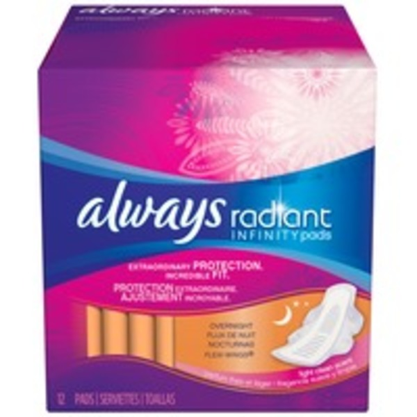 Always Infinity Always Radiant Overnight with wings scented Pads 11 count Feminine Care