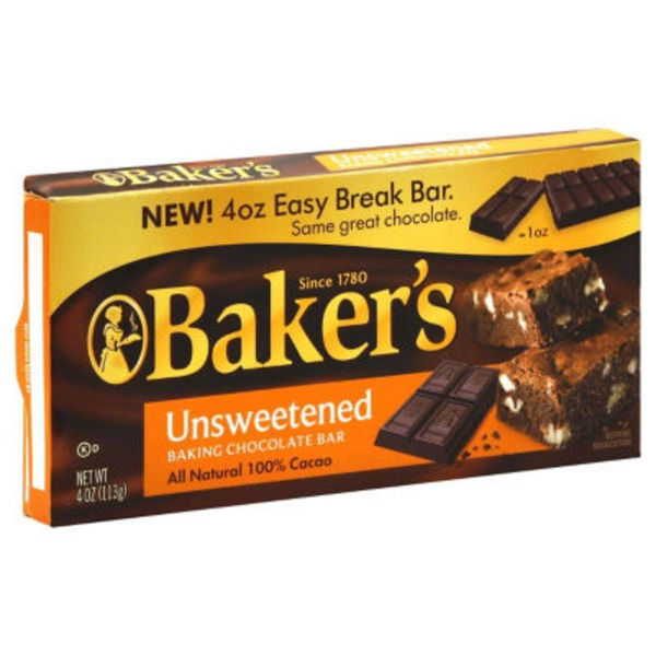 Baker's Premium Unsweetened Chocolate Baking Bar