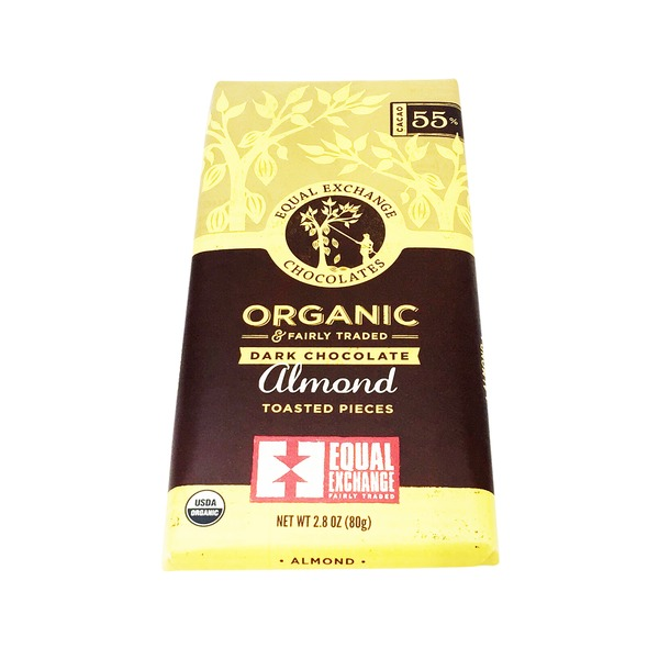 Equal Exchange Organic Dark Chocolate With Toasted Almond Pieces Bar