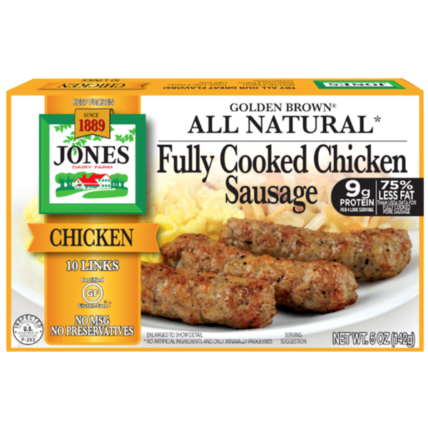 Jones Dairy Farm Golden Brown All Natural Fully Cooked Chicken Sausage Links