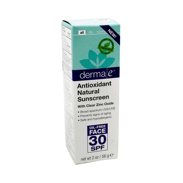 Derma E Sunscreen, Antioxidant Natural, SPF 30, Oil-Free Face Lotion