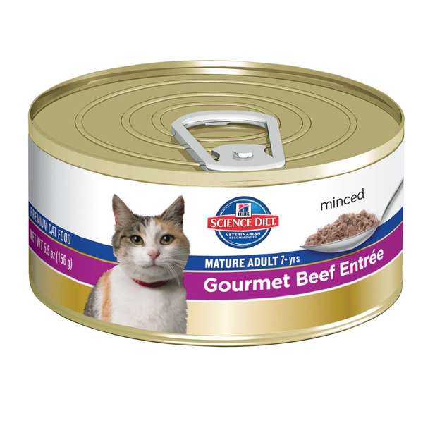 Hill's Science Diet Cat Food, Mature Adult (7+ Years), Gourmet Beef Entree, Minced