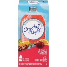 Crystal Light On-The-Go Drink Mix, Fruit Punch, 0.09 Oz, 10 Packets, 1 Count