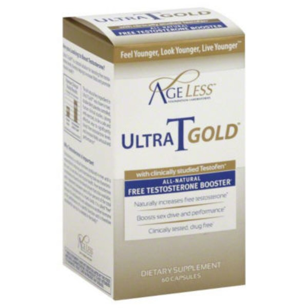 AgeLess Free Testosterone Booster Ultra T Gold With Testofen Capsules