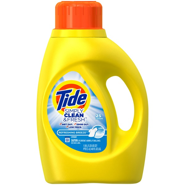 Tide Simply Clean & Fresh HE Liquid Laundry Detergent, Refreshing Breeze Scent, 25 Loads 40 Fl Oz Laundry