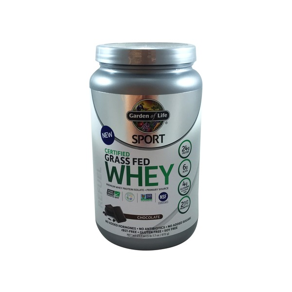 Garden of Life Sport Certified Grass Fed Whey Premium Protein Isolate Powder Chocolate