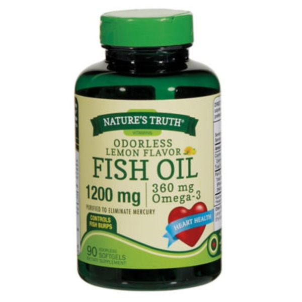 Nature's Truth Organic Odorless Lemon Flavor 1200 Mg Fish Oil Softgels