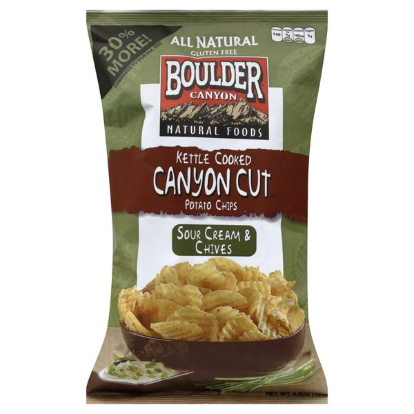 Boulder Canyon Potato Chips, Kettle Cooked, Sour Cream & Chives