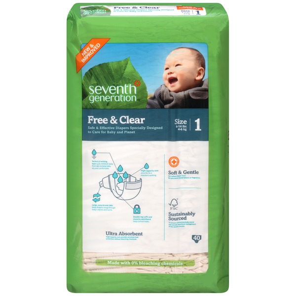 Seventh Generation Free & Clear Stage 1 8-14 Lbs. Baby Diapers