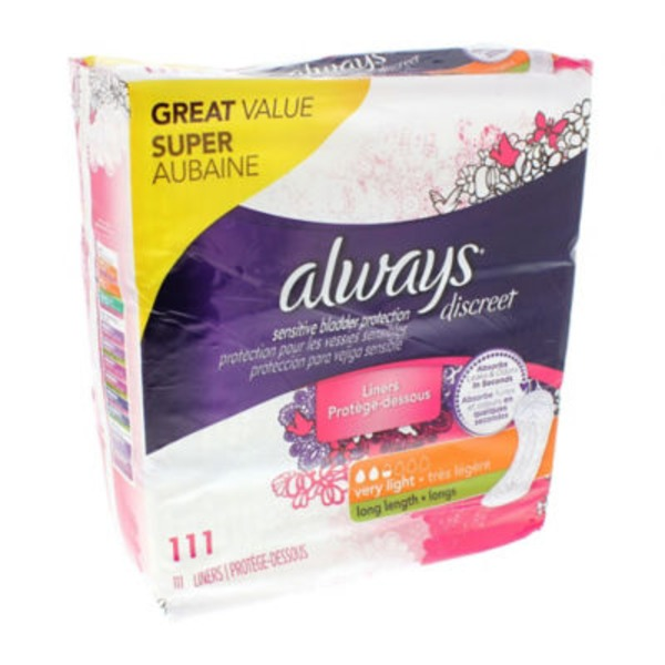 Always Discreet Always Discreet, Incontinence Liners, Very Light, Long Length, 111 Count Feminine Care