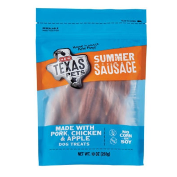 H-E-B Texas Pets Summer Sausage Made With Pork Chicken & Apple Dog Treats