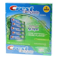 Crest Whitening Plus Scope Crest Complete Extra Whitening + Scope Multi-Benefit Fresh Mint Striped Toothpaste 8.2oz, 5 ct.  Dentifrice