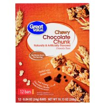Great Value Chewy Granola Bars, Chocolate Chunk, 0.84 oz, 12 Count