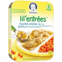 Gerber Lil' Entrees, Mashed Potatoes and Gravy with Roasted Chicken with Carrots, 6.6 oz Tray