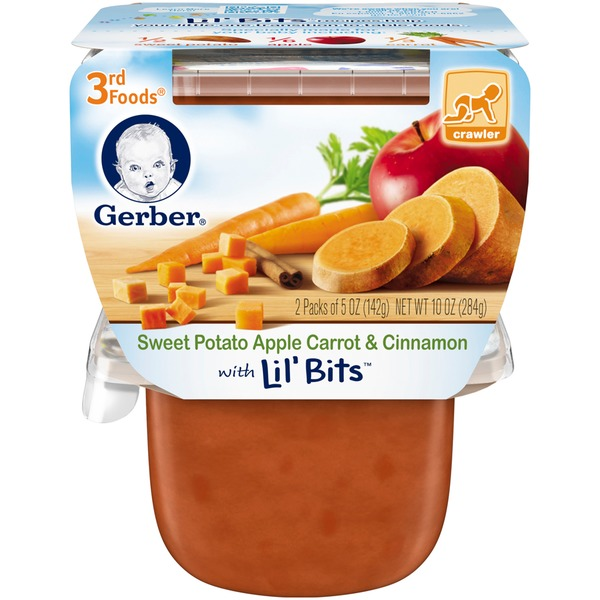 Gerber 3rd Foods Sweet Potato Apple Carrot Cinnamon with Lil' Bits Purees Vegetable & Fruit