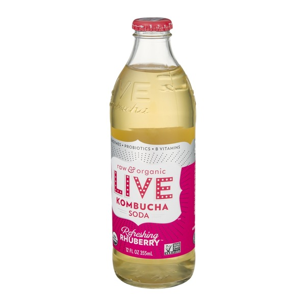 LIVE Raw and Organic Kombucha Soda Refreshing Rhuberry