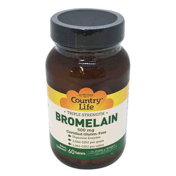 Country Life Triple Strength Bromelain with Pepsin 500 Mg