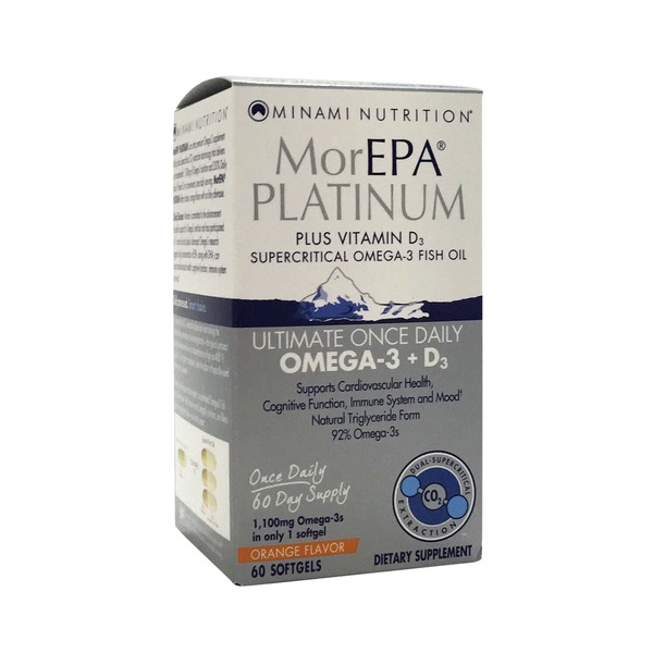Minami Nutrition MorEPA Platinum Once Daily Omega-3 + D3 Orange Flavor Softgels