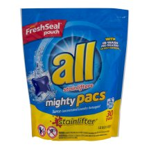 All Mighty Pacs Stainlifter Super Concentrated Laundry Detergent Pacs, 30 ct, 21.1 oz