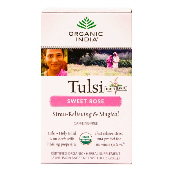 Organic India Caffeine-Free Tulsi Tea Bags Sweet Rose