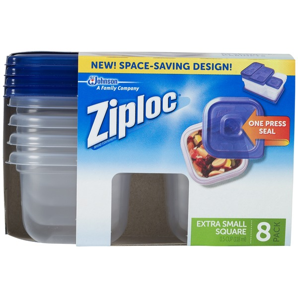 Ziploc One Press Seal Extra Small Square Containers