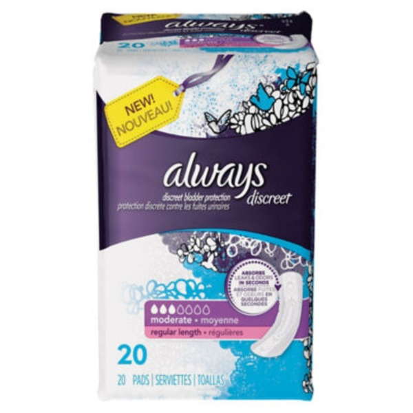 Always Discreet Always Discreet, Incontinence Pads, Moderate, Regular Length, 20 Count Feminine Care