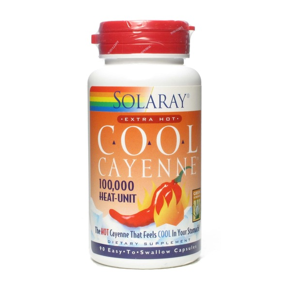 Solaray Cool Cayenne Extra Hot 100,000 Heat-Unit 90 Easy To Swallow Capsules