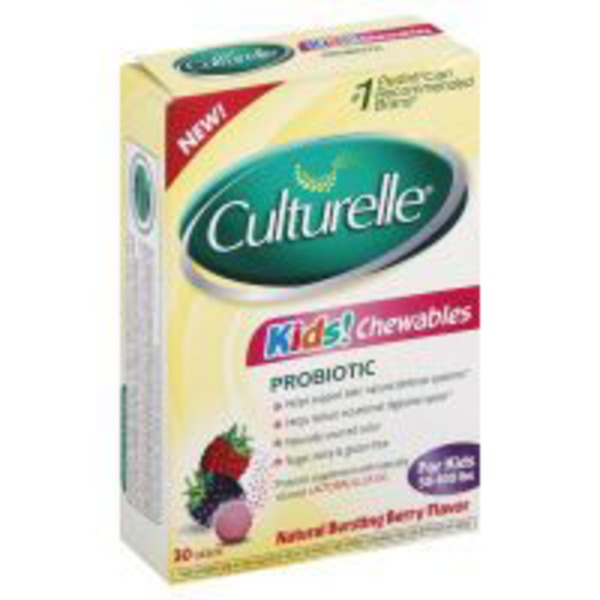 Culturelle Kids! Chewables Probiotic Tablets Natural Bursting Berry Flavor