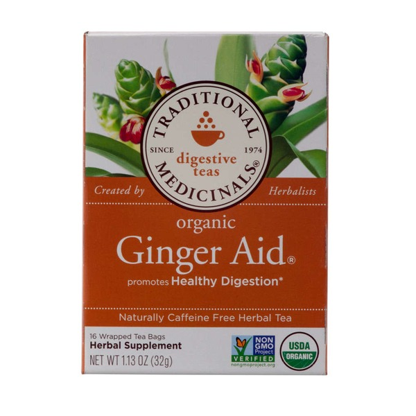 Traditional Medicinals Digestive Teas Organic Ginger Aid Herbal Supplement Wrapped Tea Bags - 16 CT
