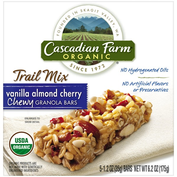 Cascadian Farm Organic Chewy Trail Mix Vanilla Almond Cherry Granola Bars