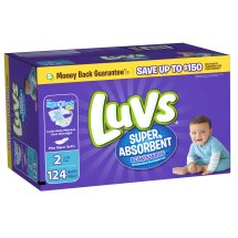 Luvs Super Absorbent Leakguards Diapers, Size 2, 124 Diapers