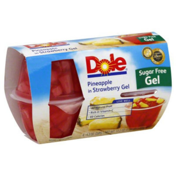 Dole Fruit Bowls Sugar-Free Pineapple in Strawberry Gel