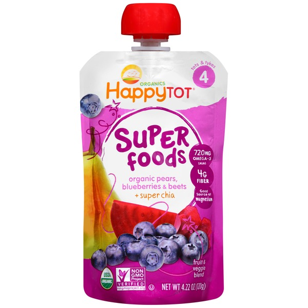 Happy Tot Superfoods Organic Pears, Blueberries & Beets + Super Chia Fruit & Veggie Blend