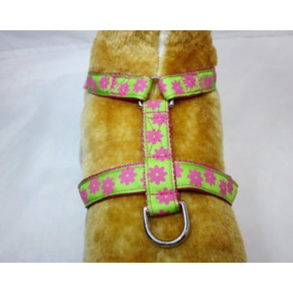 Cesar Milan Braided  Pink/Lime Pet Harness