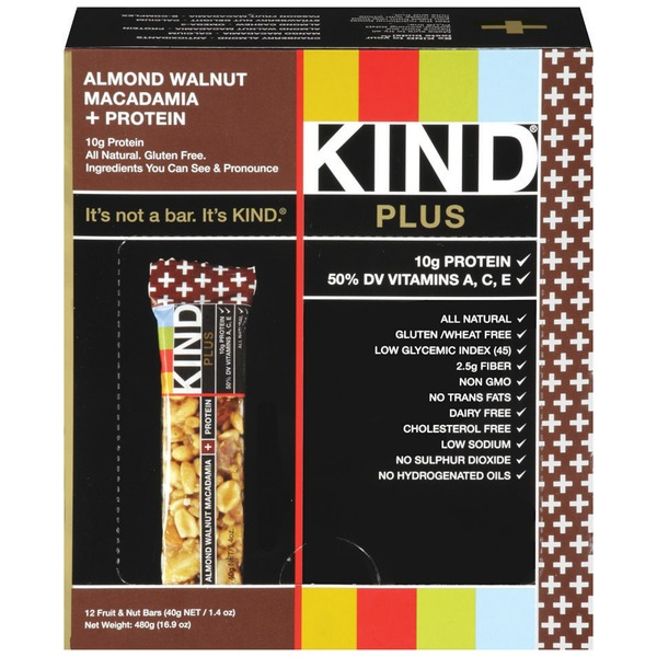KIND Almond Walnut Macadamia Plus Protein 1.4 oz Fruit & Nut Bars