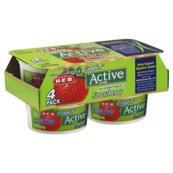 H-E-B Strawberry Light Active Cultures