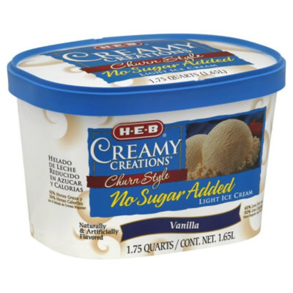 H-E-B Creamy Creations Churn No Sugar Added Light Vanilla Ice Cream