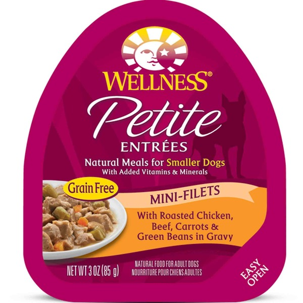 Wellness Petite Entrees Mini Natural Meals for Smaller Dogs With Roasted Chicken Beef Carrots & Green Beans in Gravy