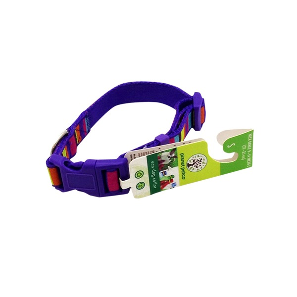 Planet Petco Adjustable Striped Eco Dog Collar In Purple