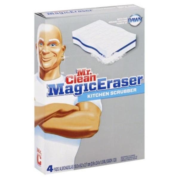 Mr. Clean Magic Eraser Kitchen & Dish Scrubber Cleaning Sponge 4ct. Surface Care