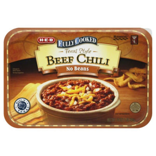 H-E-B Fully Cooked Texas Style Beef No Beans Chili
