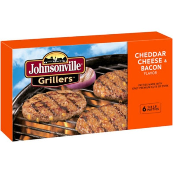 Johnsonville Cheddar Bacon Brat Patties 6ct (102034) Grillers