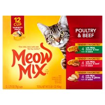 Meow Mix Tender Favorites Poultry & Beef Wet Cat Food Variety Pack, 2.75-Ounce Cups (Pack of 12)