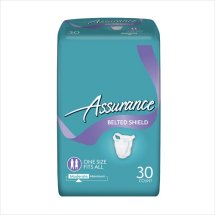 Assurance Incontinence Belted Shield Unisex, Moderate, One Size Fits All, 30 Ct