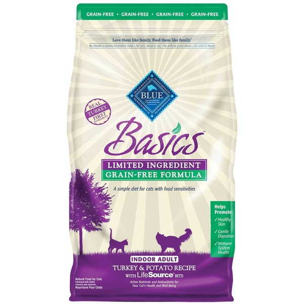 Blue Buffalo Cat Food, Dry, Turkey & Potato, Basics, Indoor, Bag