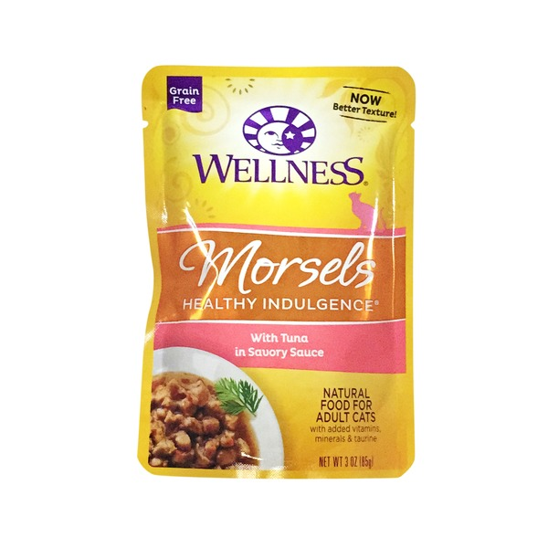 Wellness Morsels Healthy Indulgence With Tuna in Savory Sauce Natural Food for Adult Cats