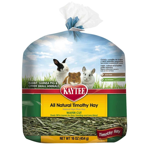 Kaytee All Natural Timothy Wafer Cut Hay For Rabbits & Small Animals 16 Oz