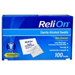 ReliOn Sterile Alcohol Skin Cleanser Swabs, 100 Ct