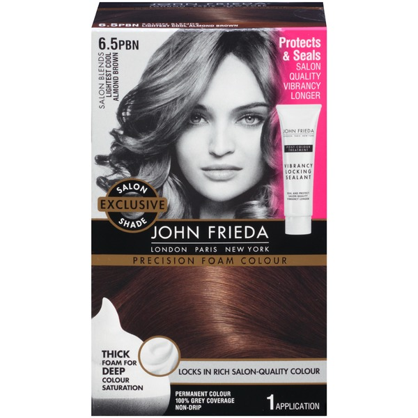 John Frieda Hair Color Brilliant Brunette Salon Blends Lightest Cool Almond Brown 6.5PBN Precision Foam Colour