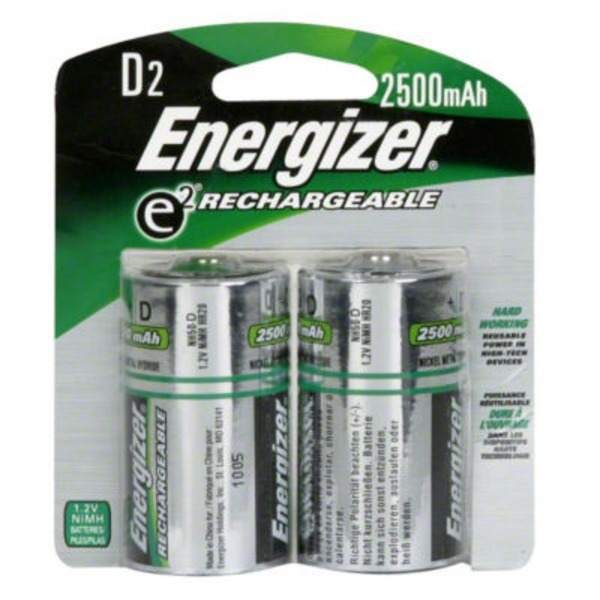 Energizer E2 Rechargeable D Batteries 2500 Mah